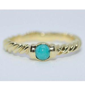 David Yurman 18k yellow gold turquoise ring size 7
